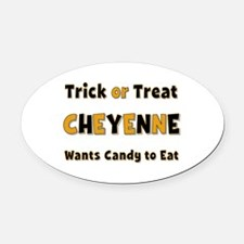 Cheyenne Trick or Treat Oval Car Magnet