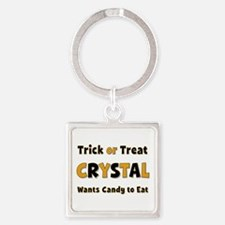 Crystal Trick or Treat Square Keychain