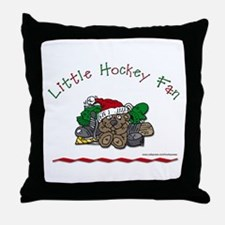 Little Christmas Hockey Fan Throw Pillow