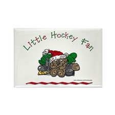 Little Christmas Hockey Fan Rectangle Magnet
