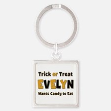 Evelyn Trick or Treat Square Keychain
