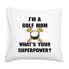 Golf Mom Square Canvas Pillow