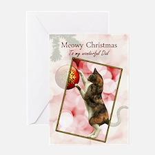 Dad, Meowy Christmas. Greeting Card