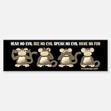 No Evil Fun Monkeys Bumper Bumper Sticker