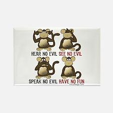 No Evil Fun Monkeys Rectangle Magnet