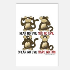 No Evil Fun Monkeys Postcards (Package of 8)