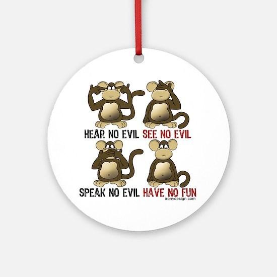 No Evil Fun Monkeys Ornament (Round)
