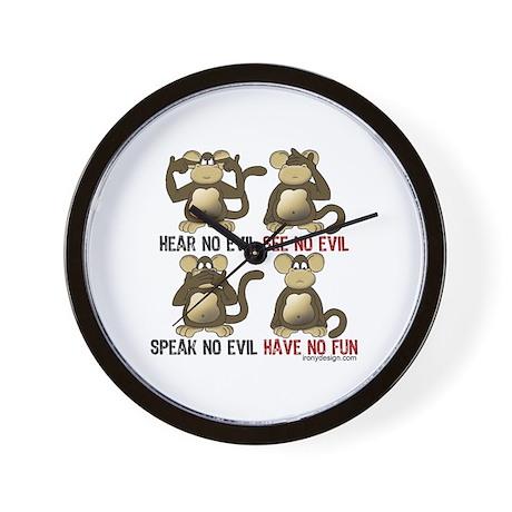 No Evil Fun Monkeys Wall Clock