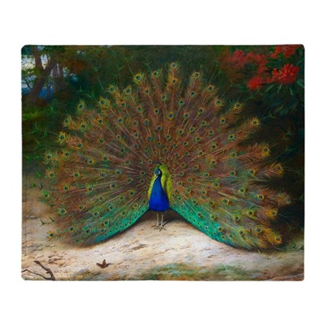 Peacock and Peacock Butterfly Throw Blanket