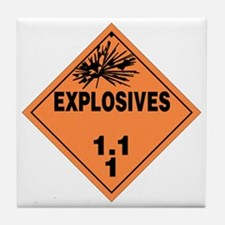 Orange Explosives Warning Sign Tile Coaster