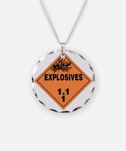 Orange Explosives Warning Si Necklace