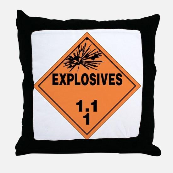 Orange Explosives Warning Sign Throw Pillow
