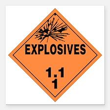 "Orange Explosives Warnin Square Car Magnet 3"" x 3"""