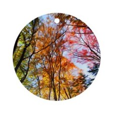 Autumn Trees Oil Painting Ornament (Round)