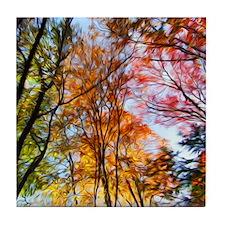 Autumn Trees Oil Painting Tile Coaster