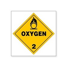 "Yellow Oxygen Warning Sign Square Sticker 3"" x 3"""
