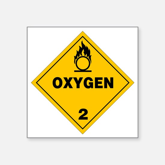"""Yellow Oxygen Warning Sign Square Sticker 3"""" x 3"""""""