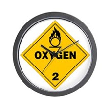 Yellow Oxygen Warning Sign Wall Clock