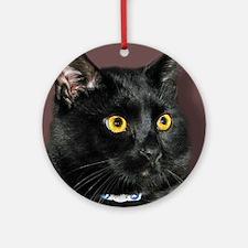Black Cat wYellowEyes Ornament (Round)