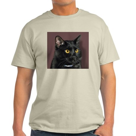 Black Cat wYellowEyes Ash Grey T-Shirt