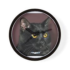 Black Cat wYellowEyes Wall Clock