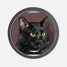 Black Cat wYellowEyes Wall Clock