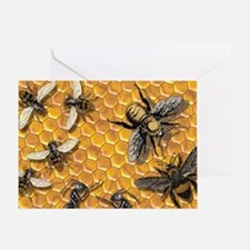 bees and honeycomb illustration Greeting Card