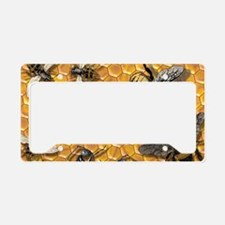 bees and honeycomb illustrati License Plate Holder