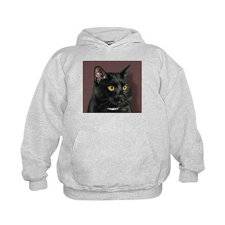 Black Cat wYellowEyes Kids Hoodie