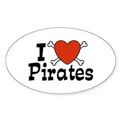 I Love Pirates Oval Decal