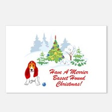 Christmas Basset Hound Postcards (Package of 8)