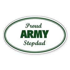 Proud Army Stepdad Oval Decal