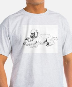 Playful Poodle Ash Grey T-Shirt