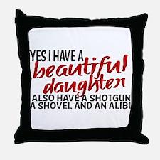 Shotgun, Shovel & an Alibi Throw Pillow