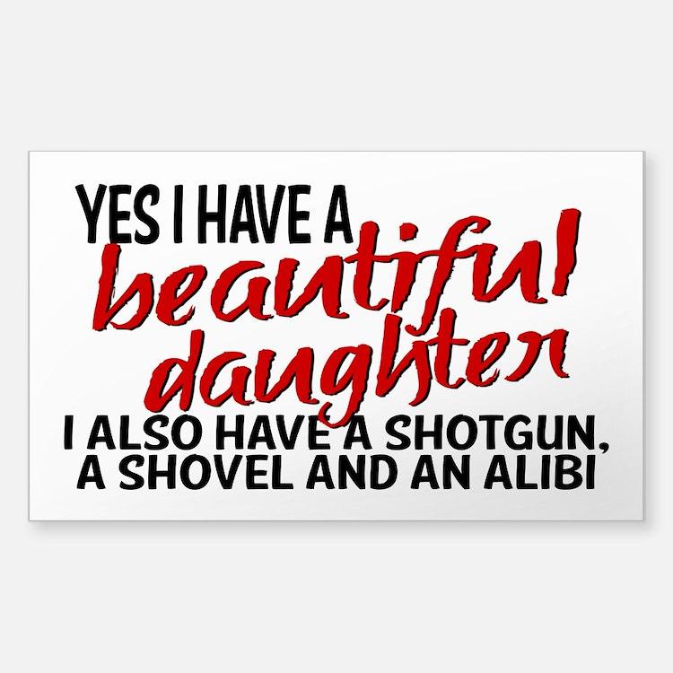 Shotgun, Shovel & an Alibi Sticker (Rectangle)