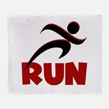 RUN in Red Throw Blanket