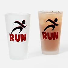 RUN in Red Drinking Glass