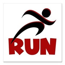 """RUN in Red Square Car Magnet 3"""" x 3"""""""