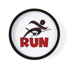 RUN in Red Wall Clock