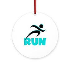 RUN in Aqua Ornament (Round)