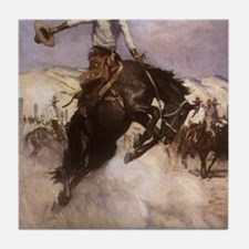Breezy Riding by Koerner Tile Coaster