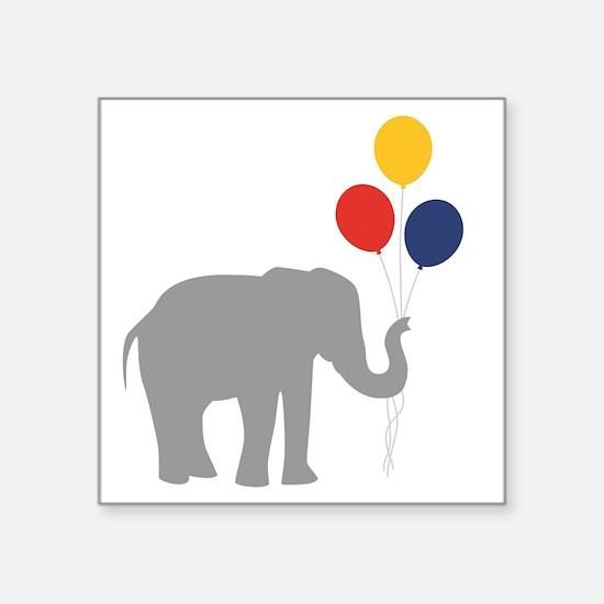 "Party Elephant Square Sticker 3"" x 3"""