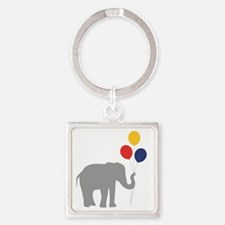 Party Elephant Square Keychain