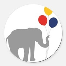 Party Elephant Round Car Magnet