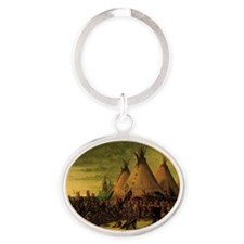 Sioux War Council by George Catlin Oval Keychain