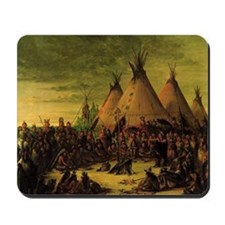 Sioux War Council by George Catlin Mousepad