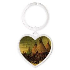 Sioux War Council by George Catlin Heart Keychain