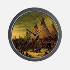 Sioux War Council by George Catlin Wall Clock
