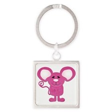 cute pink polka dot mouse Square Keychain