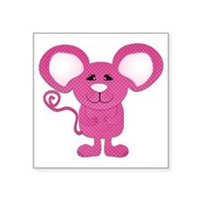 "cute pink polka dot mouse Square Sticker 3"" x 3"""
